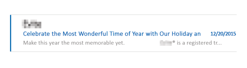 Subject Line Example - Most Wonderful Time of Year