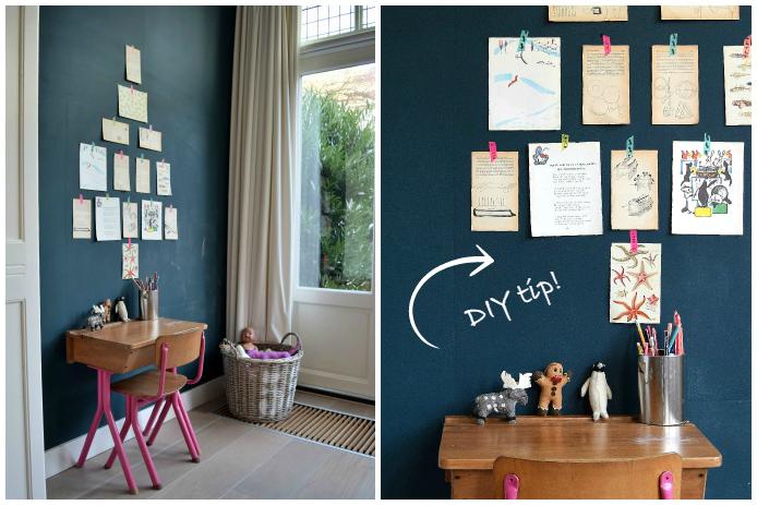 DIY tip van Petra: maak een kerstboom op de muur met bladzijden van oude ( kinder) boeken. Plak de blaadjes vast met gekleurde washi tape.