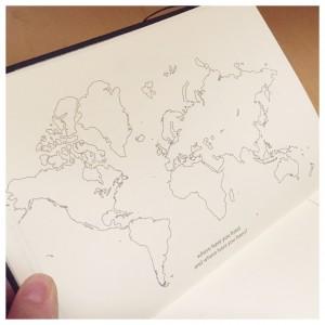 wereldkaart dagboek