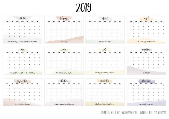 New Free Printable kalender voor 2019 - Hip & Hot - blogazine #OM22