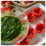 Gevulde tomaten met ei en spinazie
