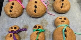 Sneeuwman broodjes maken