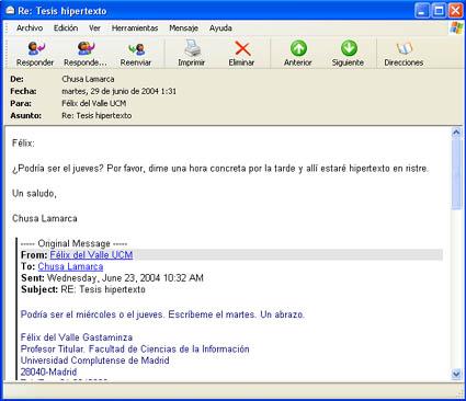 ejemplo un correo electrónico