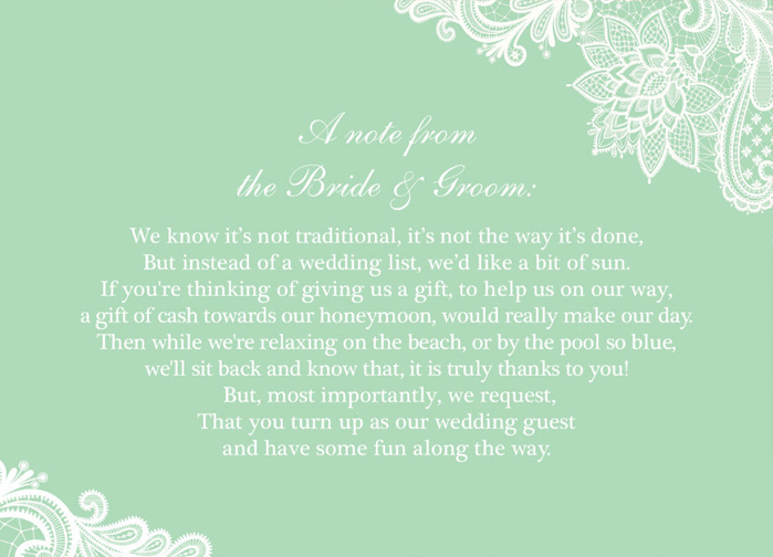 You Can Send Our Gift Wish Poem Cards Along With Your Invitations To Let Them Know