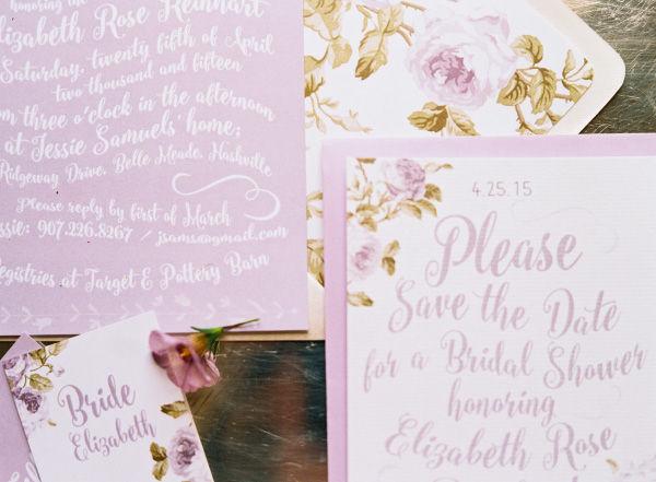 Script Wedding Invitations With Purple Accents
