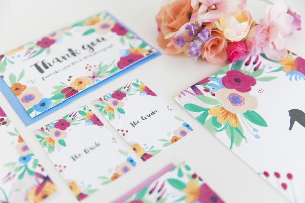Maxeen Kim Photography Hip Ay Fl Flowers Bright Hand Painted Fun Wedding Invitations