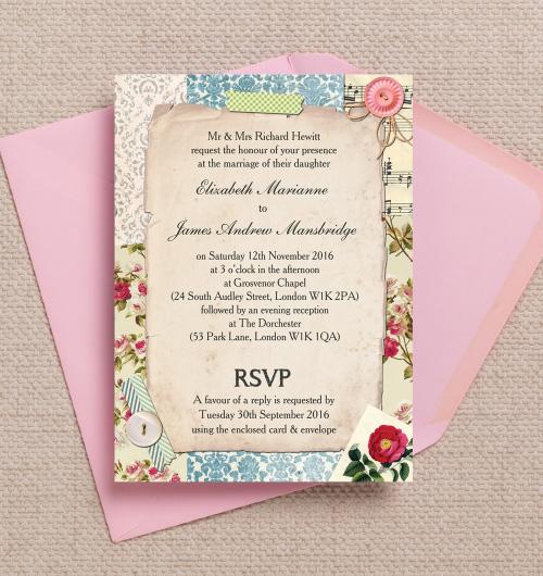 Wedding Invitation Rainbow Motif Wedding Invitation