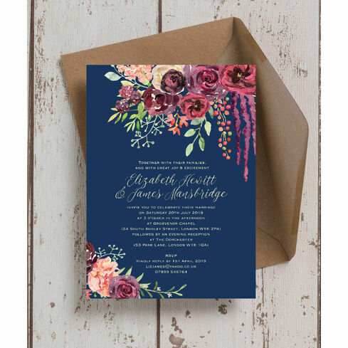 Navy Burgundy Fl Wedding Invitation