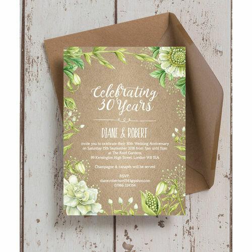 Rustic Greenery 30th Pearl Wedding Anniversary Invitation