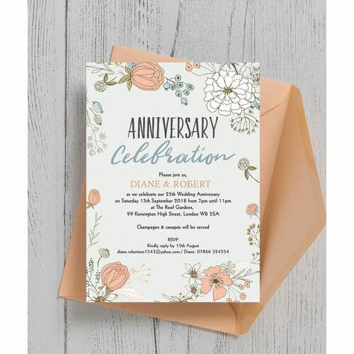 Wild Flowers 25th Silver Wedding Anniversary Invitation