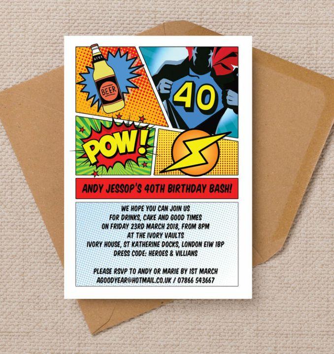 Personalised 40th birthday party invitations uk newsinvitation comic book inspired superhero 40th birthday party invitation 8 00 from 1 25 our retro style personalised filmwisefo