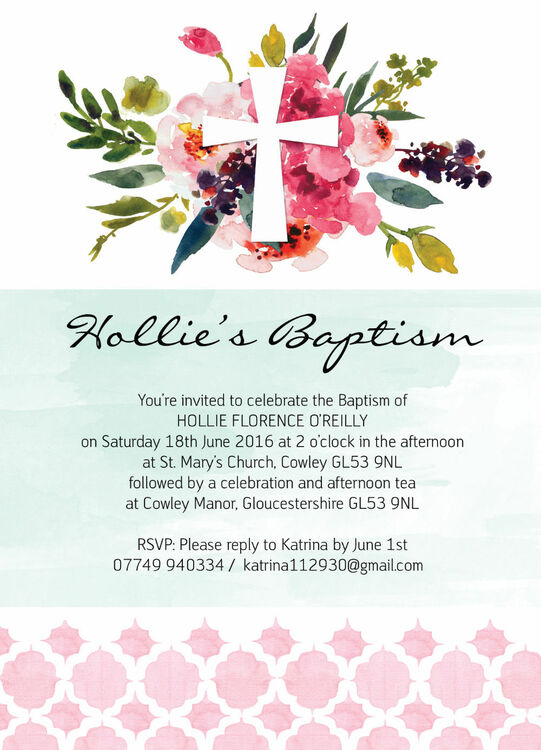 Watercolour Floral Christening Baptism Invitation From