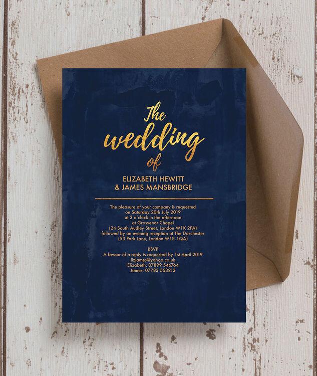 Navy Gold Wedding Invitation Additional 3