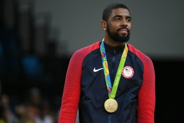 Aug 21, 2016; Rio de Janeiro, Brazil; USA guard Kyrie Irving (10) after winning the gold medal in the men's gold game during the during the Rio 2016 Summer Olympic Games at Carioca Arena 1. Mandatory Credit: RVR Photos-USA TODAY Sports ORG XMIT: USATSI-322612 ORIG FILE ID:  20160821_pjc_su1_420.JPG