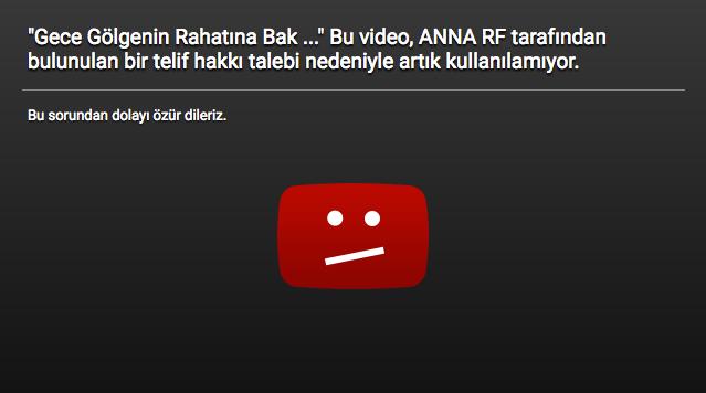 """""""Gece Gölgenin Rahatına Bak ..."""" Bu video, ANNA RF tarafından bulunulan bir telif hakkı talebi nedeniyle artık kullanılamıyor."""