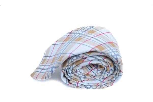 Beige bruine stropdas met ruit als patroon.