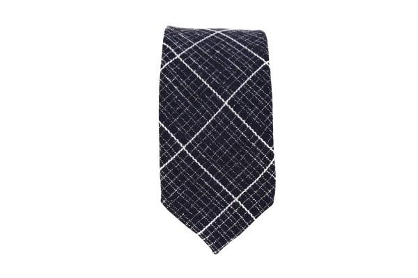 Zwarte stropdas met wit raster opdruk.