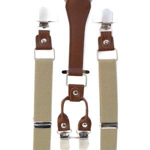 Beige kaki bretels met bruin leren verbindingen.