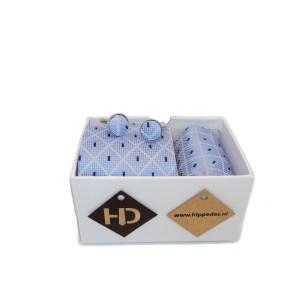 lichtblauw donkerblauw witte set stropdas manchetknopen pochet