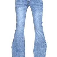 Cindy H 60s 70s Style Vintage Wash Flares Faded Bell-Bottom Wide Flared Jeans - Blue