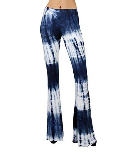 56544e3d7f5c0 Zoozie LA Women's Bell Bottoms Tie Dye and High Waist Denim Colored Yoga  Pants