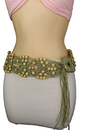 d5c8cb9eaf184 TFJ Women's Fashion Tie Belt Hip Waist 80's Bohemian Style Fabric Beads M L  Beige