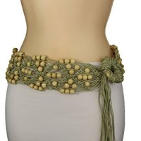 TFJ Women's Fashion Tie Belt Hip Waist 80's Bohemian Style Fabric Beads M L Beige