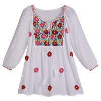 Women's Peasant Tunic Top - White Poppy Cascade Embroidered Shirt