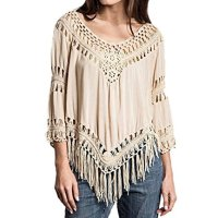 ZANZEA Women's Boho Hippie Crochet Tassel Hollow Summer Beach Top Blouse T Shirt