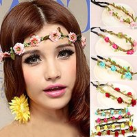 Hippie Love Flower Garland Crown Festival Wedding Hair Wreath BOHO Floral Headband