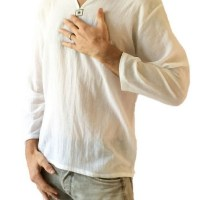 Men's White T-shirt 100% Cotton Thai Hippie Shirt V-neck Beach Yoga Top