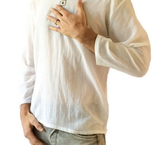 d2933c48 Men's White T-shirt 100% Cotton Thai Hippie Shirt V-neck Beach Yoga Top
