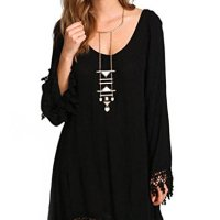 PAKULA® Women's Long Sleeve Lace Embellished Beach Cover Up Loose Dress