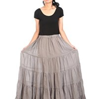 Lannaclothesdesign Women's Cotton Long Ruffle Full Circle Long Skirts Maxi Skirt