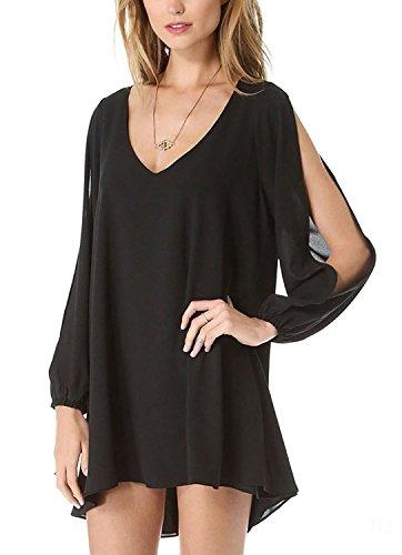 M/&S/&W Womens Off Shoulder Long Sleeve Flared Drop Hem Tied Casual Dress
