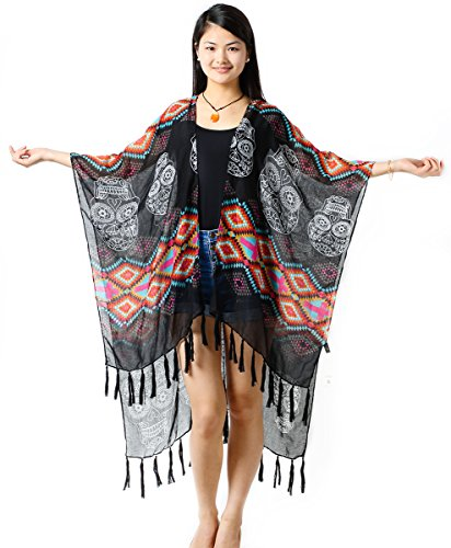 Blouses & Shirts Realistic Women Pullover Square V-neck Swimsuit Cover Up Bohemian Rainbow Large Sunflower Printed Chiffon Cape Shawl Oversized Loose Kimon