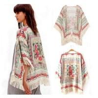 Vintage Flower Tassels Shawl Chiffon Kimono Cardigan Coats Jackets