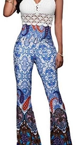1de42143cbff7 JINSEY Women's Boho Solid Hippie Wide Leg Flare Bell Bottom Palazzo Pants