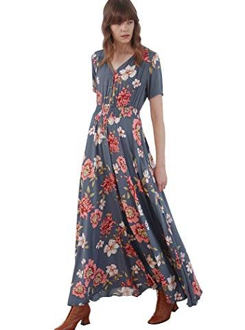 5bf8e1f3c Pintage Women's Flowy Boho Dress Floral Maxi Dress