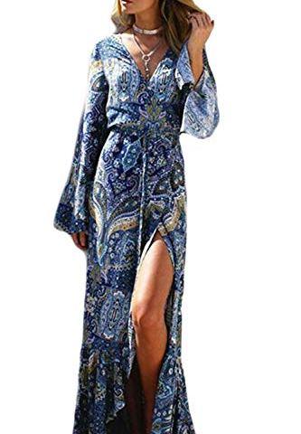 346291bc4 Women's Dresses Summer 3/4 Sleeve V Neck Slit Beach Wrap Maxi Boho Dress