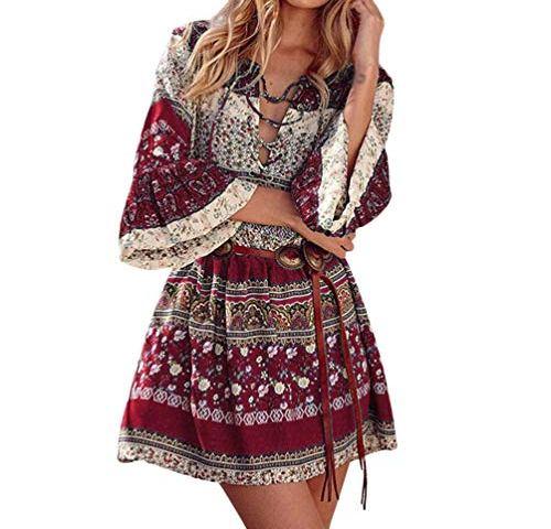 e67b63dd0a6d9 Women Boho Floral Print Bell Sleeve Crisscross Straps Plus Size Loose Mini  Dresses with Belt,S-5XL