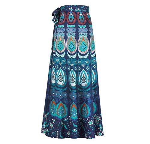 4956eb59dfbd Dingwangyang Boho Skirts for Women Long Print A-Line Hippie Dresses Floral  Maxi Skirt