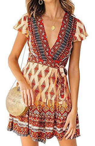 6c882a84 Women's Summer Sundress – Vintage Floral Print Ruffle Wrap Dress Bobemian  Beach Mini Dress