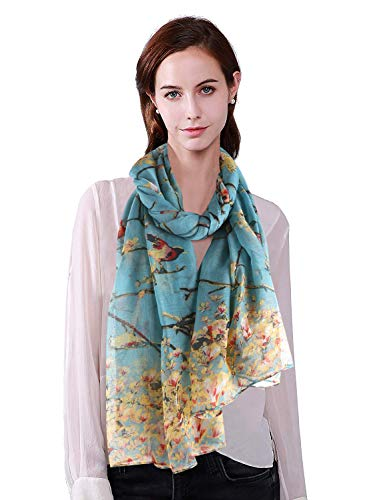 Long Scarf EELa Scrves Women Polyester Lightweight Soft Printed Floral Pink Flowers Fashion Wrap Shawl Spring Winter 70x35 inches