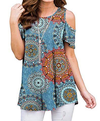 LINKIOM Women O-Neck Short Sleeve Floral Print Buttons Cotton Linen Vintage Top