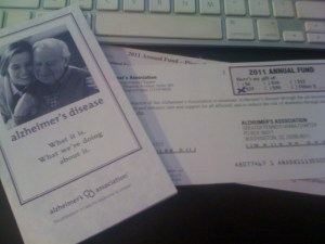 alzheimer's association pa chapter pledge card and pamphlet