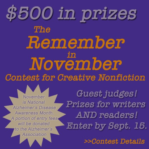 the remember in november contest for creative nonfiction promo ad that displays $500 in prize annoucement