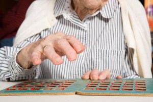 old woman with bingo card