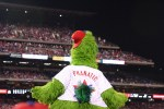 phillie phanatic looking out to packed stadium