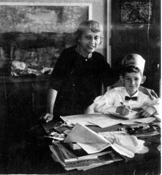 young robert weinberger with his kindergarten teacher